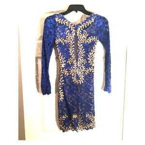 Holy Miami Blue and Gold Dress Size Small